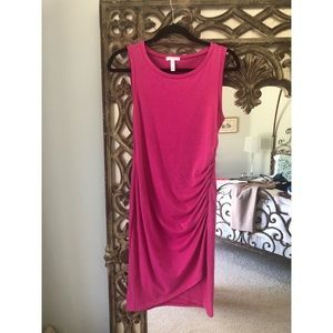 Leith Pink Berry Ruched Body-Con Tank Dress